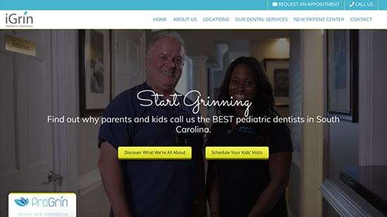 Preview image of iGrin's new responsive dental website.