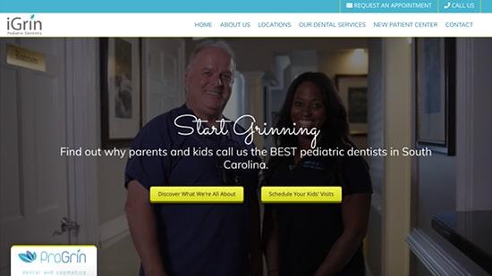 Preview image of iGrin's new pediatric dentistry website