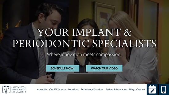 Preview image of Implant and Periodontic Specialists' new responsive perio website.