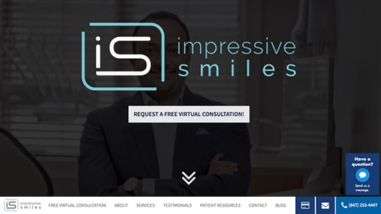 Preview image of Impressive Smiles' new responsive dental website.
