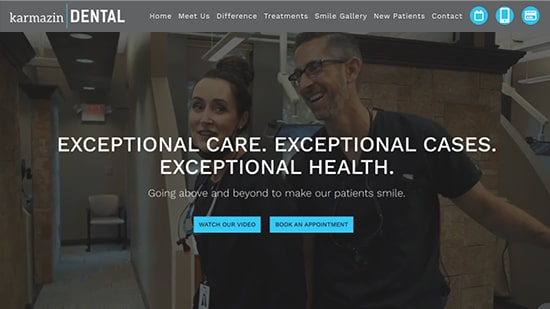 A popular example in our portfolio: Karmazin Dental's new responsive dental website.