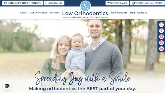 Preview image of Law Orthodontic's new responsive dental website.