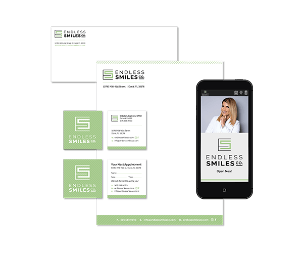 Logo and branding example for a dental practice in Florida including mobile preview