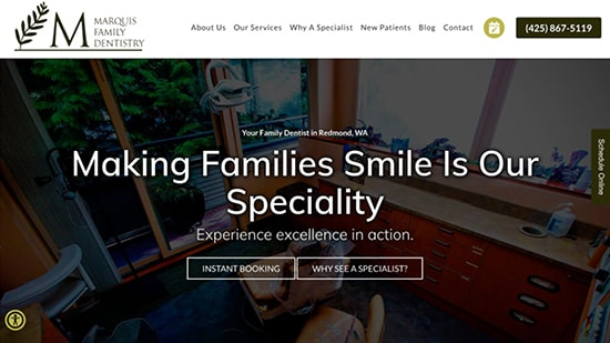 Preview image of Marquis Family Dentistry's new responsive dental website at affordable website pricing