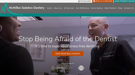 Preview image of McMillan Sedation Dentistry's new responsive dental website.