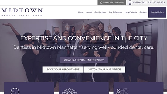 A popular example in our portfolio: Midtown Dental Excellence's new responsive dental website.