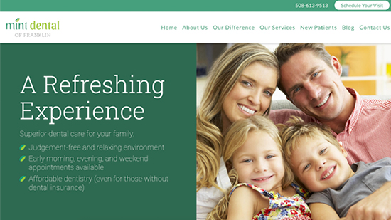 Preview image of Mint Dental's new responsive dental website.