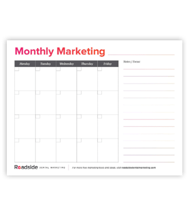 Preview image of the Monthly Marketing Calendar available from Roadside's marketing resources toolkit for dentist offices.