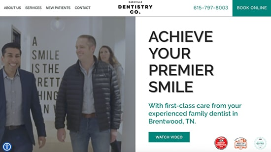 A popular example in our portfolio: Nashville Dentistry Co's new responsive dental website.