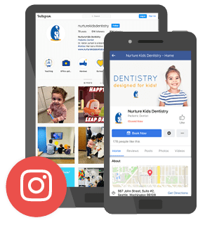 A tablet and mobile showing one of our dental branding services examples including an Instagram logo