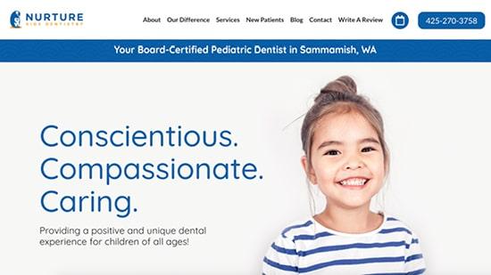 Nurture Kids Dentistry screenshot of their pediatric dentistry website