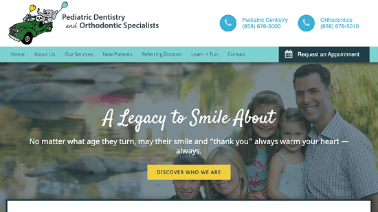 A preview of PDO Specialists' dental website design