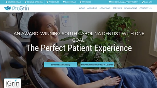 Preview image of ProGrin Dental's new responsive dental website.