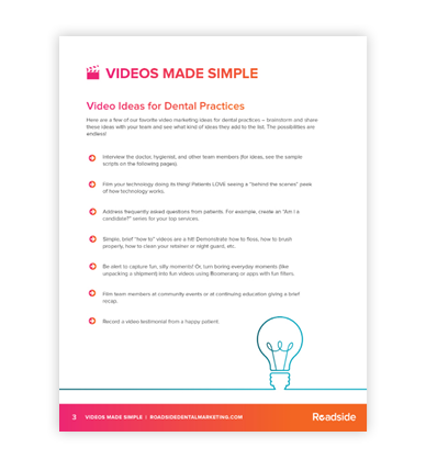 Preview image of our PDF that list video ideas for dental practices to use in their online marketing efforts.
