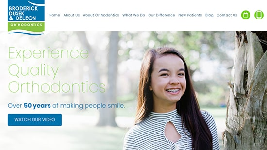Preview image of Broderick, Dusek, and DeLeon Orthodontics's new responsive dental website.