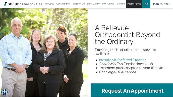 Preview image of Schur Orthodontic's new responsive dental website.