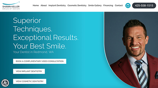 Preview image of Shawn Keller Smile By Design's new responsive dental website.