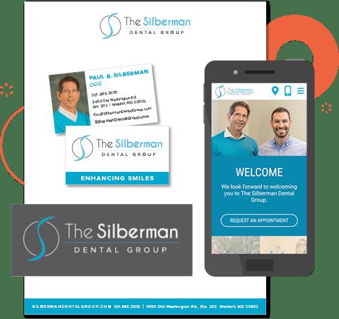 Example of The Silberman Dental Group's printwork, logo design, and website branding
