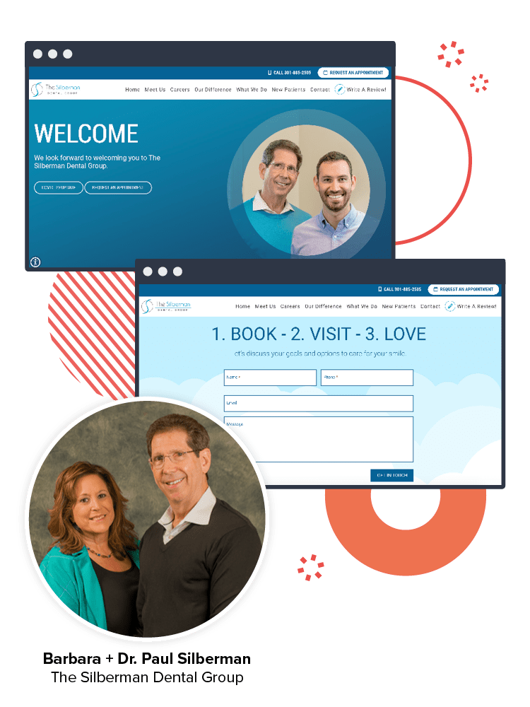 A graphic showing the new Silberman Dental Group website pages and an image of Dr. Silberman and his wife