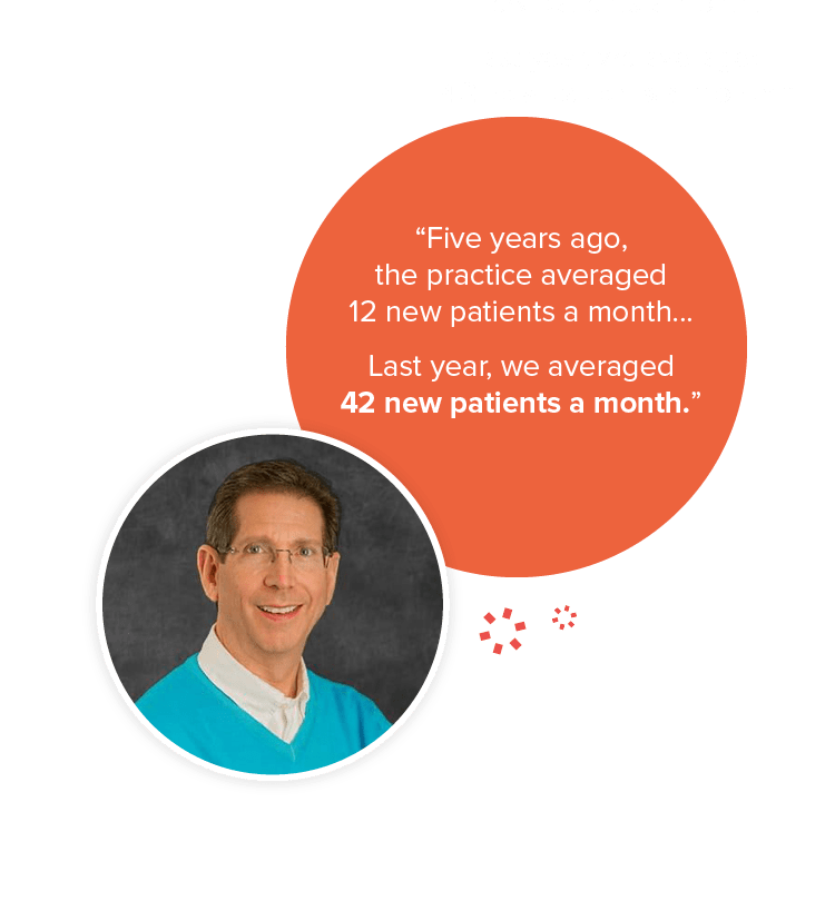 "Paul Silberman with a testimonial, saying ""Five years ago, the practice averaged 12 new patients a month... Last year, we averaged 42 new patients a month."""