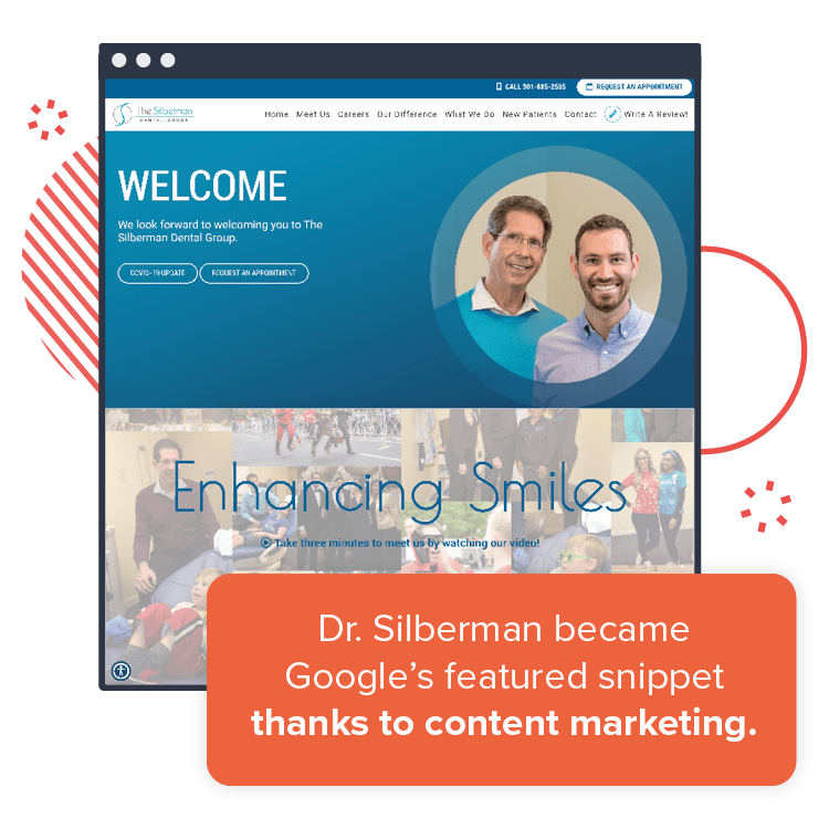 One of our websites for dentists: Dr. Silberman became Google's featured snippet - thanks to content marketing.