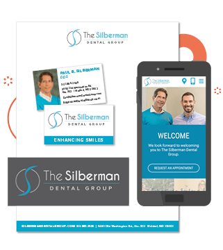 The new Silberman Dental Group's logo on both a white and dark background