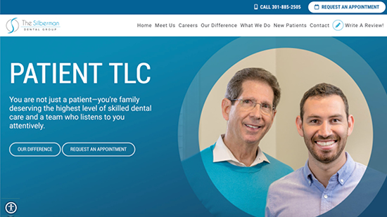 A popular example in our portfolio:  The Silberman Dental Group's new responsive dental website.