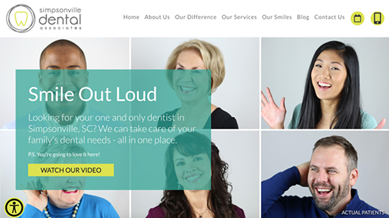 Preview image of Simpsonville Dental Associate's new responsive dental website.