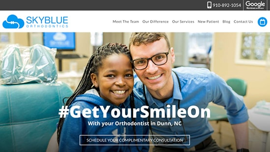Preview image of Skyblue Orthodontics' new responsive dental website.