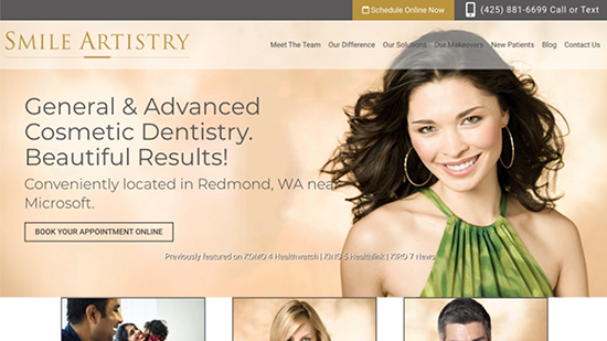 Preview of Smile Artistry's classic dental website design