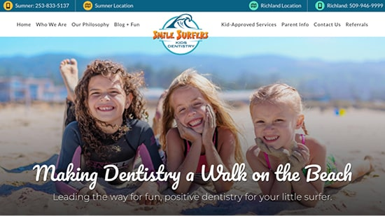 Preview image of Smile Surfer's new responsive dental website.