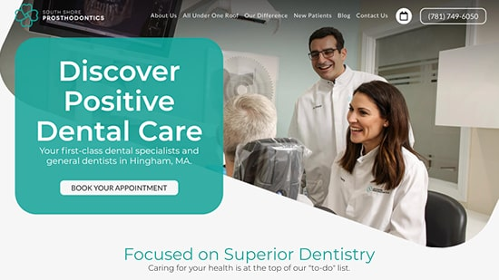 Preview image of South Shore Prosthodontics' new responsive prosthodontics website.