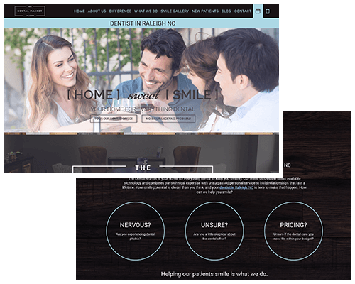 Preview of a spa-like dental website with the homepage and inner page