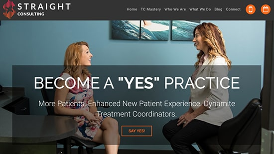Preview image of Straight Consulting's new responsive dental website.