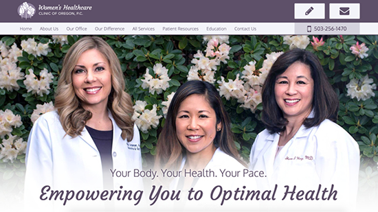 Preview image of Women's Healthcare Clinic of Oregon's new responsive website.