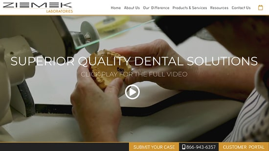Preview image of Ziemek Laboratories' new responsive dental lab website.