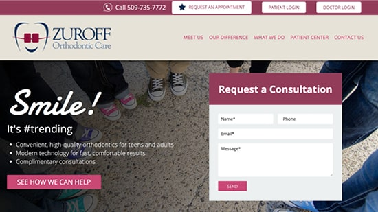 An example of our orthodontic website from our portfolio:  Zuroff Orthodontic Care's new responsive website.