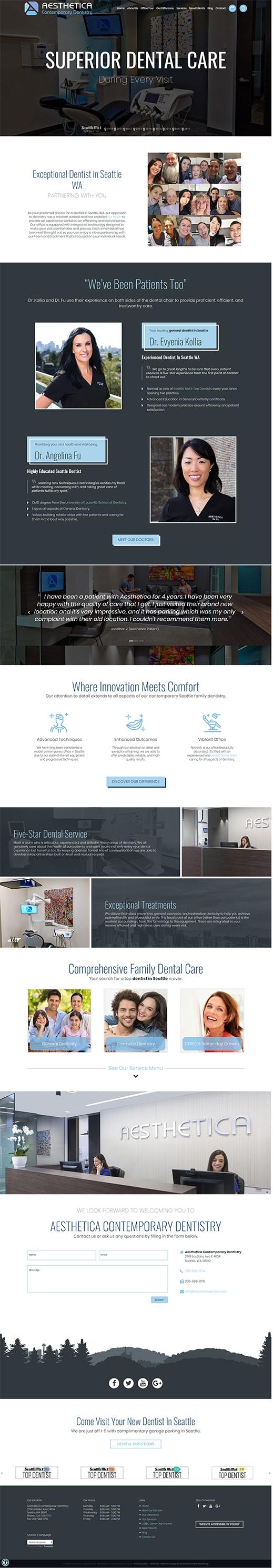 Aesthetic Contemporary Dentistry screenshot of their new responsive dental website on desktop
