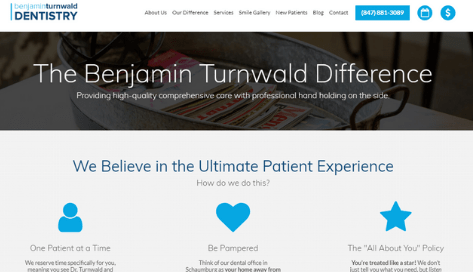 Dr. Turnwald's difference web page that helps patients relate and choose his brand