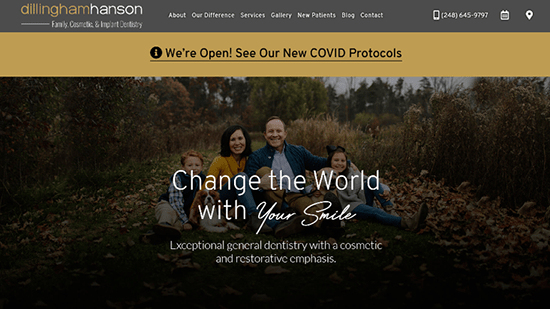 Preview image of Dillingham Hanson's new responsive dental website.