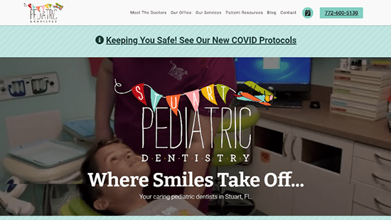 Preview image of Stuart Pediatric Dentistry's new responsive dental website.