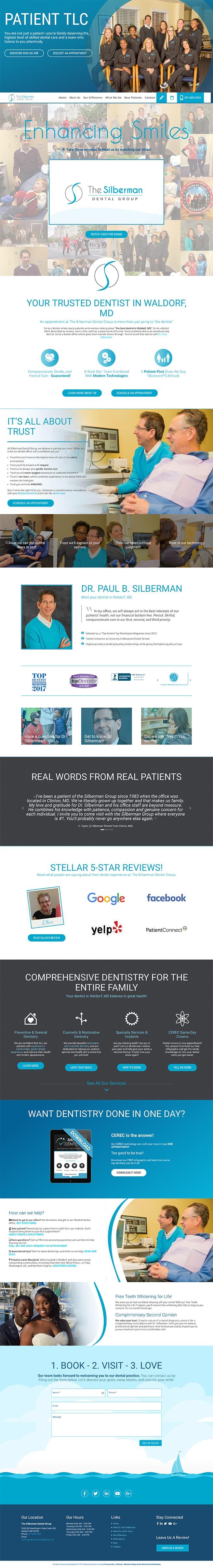 Silberman Dental Group new responsive dental website -desktop version