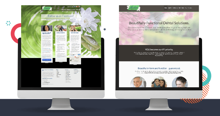 Side by side images of website design using custom photos