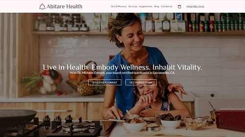 Preview image of Abitare Health's new medical website.