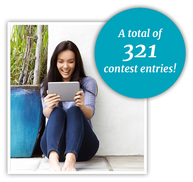 Graphic saying Aesthetica Dentistry received 321 scavenger hunt entries while a woman holds a tablet in delight