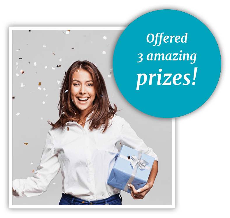Graphic saying Aesthetica Contemporary Dentistry chose 3 amazing prizes for their scavenger hunt and a woman holding a prize