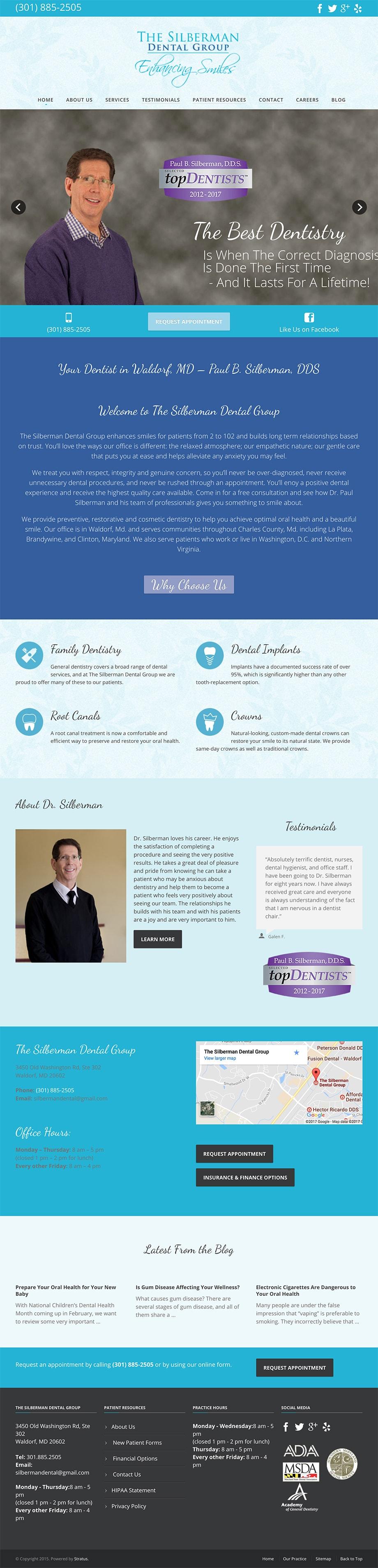 Silberman Dental Group old dental website -desktop version