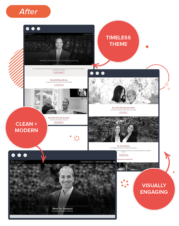 Preview of Jess Santucci DDS's new dental website, highlighting its improvements: timeless theme, clean and modern, and visually engaging