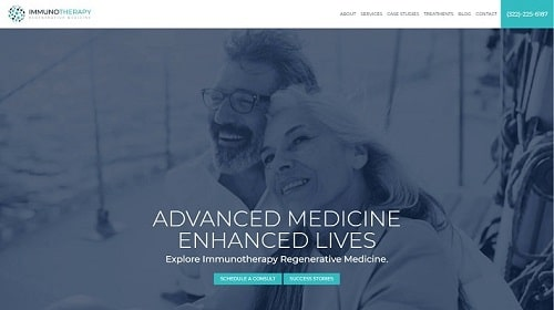 Preview image of Immuno Therapy's new medical website.