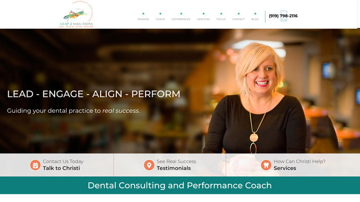 Preview image of Leap 2 Solutions' a leading dental coaches new responsive consultants website.